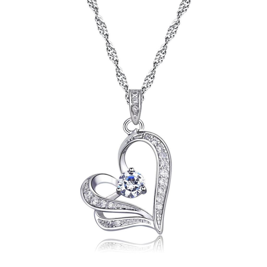 Women's Luxe Heart Pendant with Cubic Zirconia Solitaire Necklace