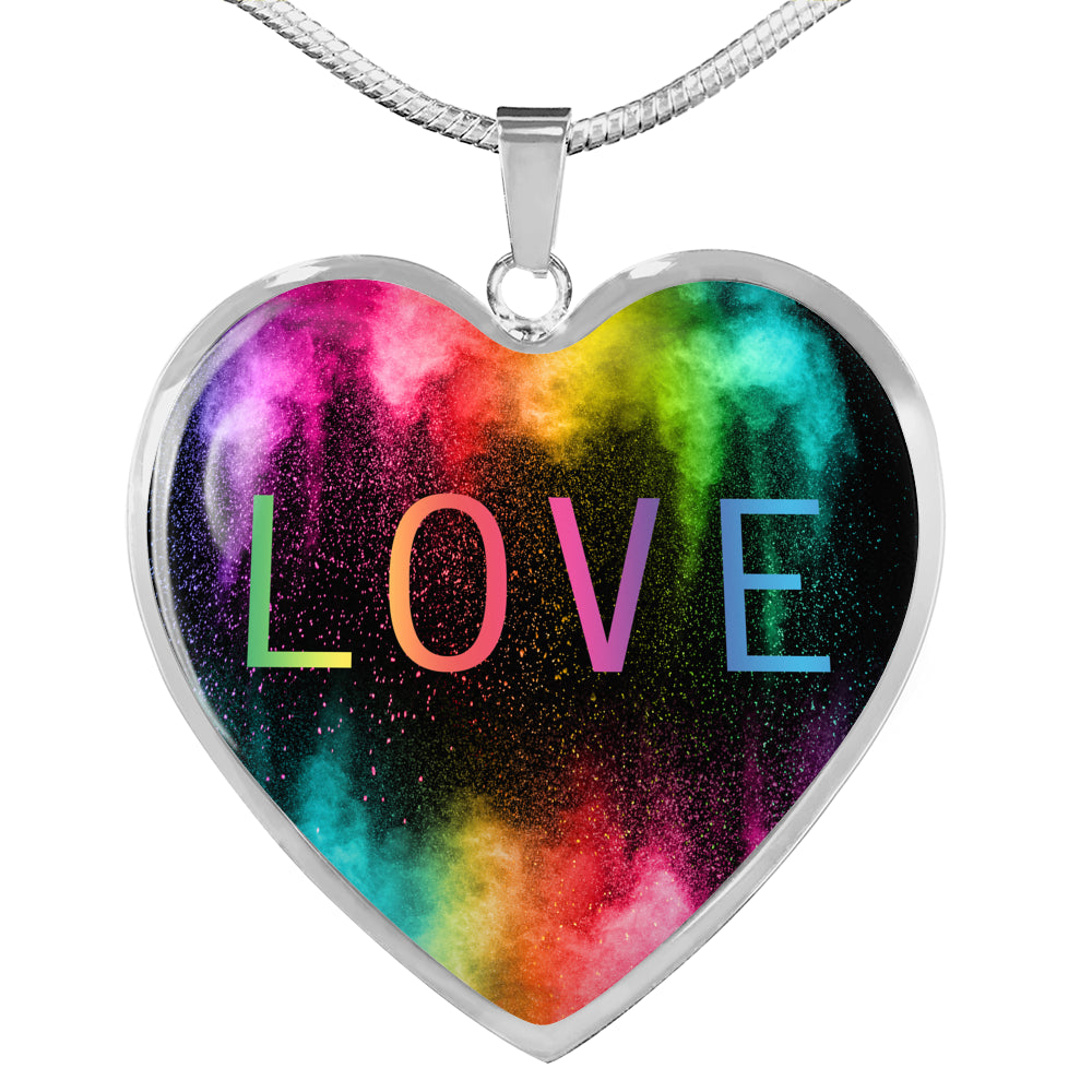 Rainbow LOVE Heart Necklace