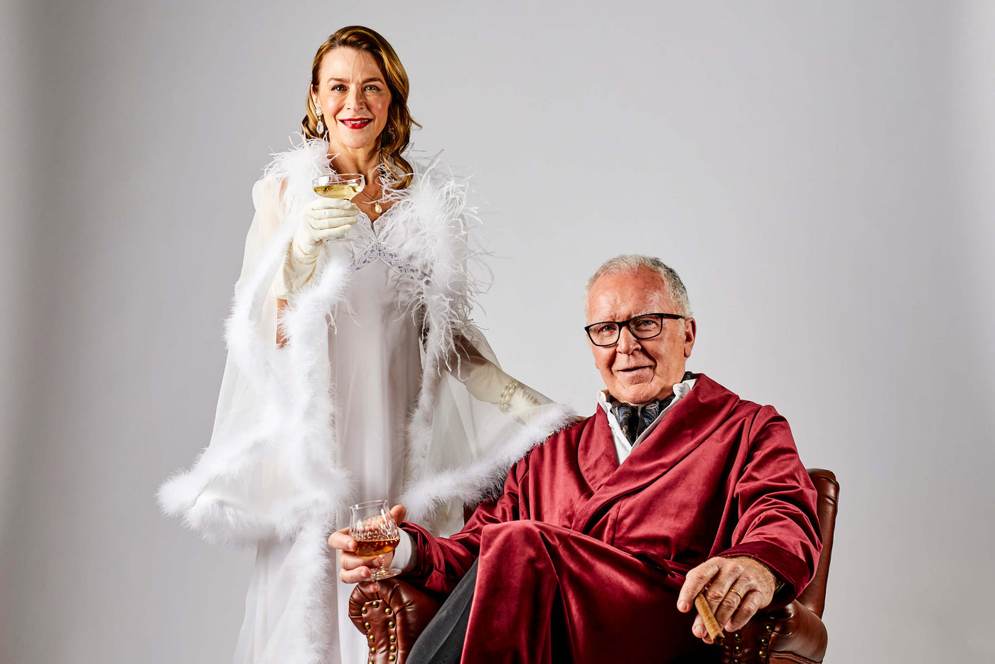 Male and female wearing luxury robes in a shoot for Melbourne video production company Enamoured Iris