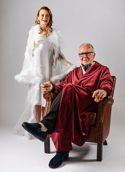 Woman wearing a White Silk Robe and man wearing a Red Silk Robe from Melbourne video production company Enamoured Iris