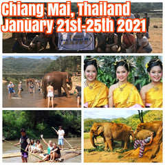 (Sold Out)Happy in Chiang Mai, Thailand January 21st-25th 2021 featuring elephant sanctuary day, bamboo rafting, swimming in waterfalls, and fabulous night markets.