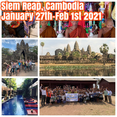 (2 rooms left)Happy in Siem Reap, Cambodia January 27th-February 1st 2021 featuring one day biking tour thru Angkor Wat, floating village tour, special monk blessing, Cambodian circus, and an opportunity to bring donations to village schools.