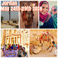Happy in Jordan May 24th-29th 2018 featuring Petra, Dead Sea, and Roman ruins of Jerash.