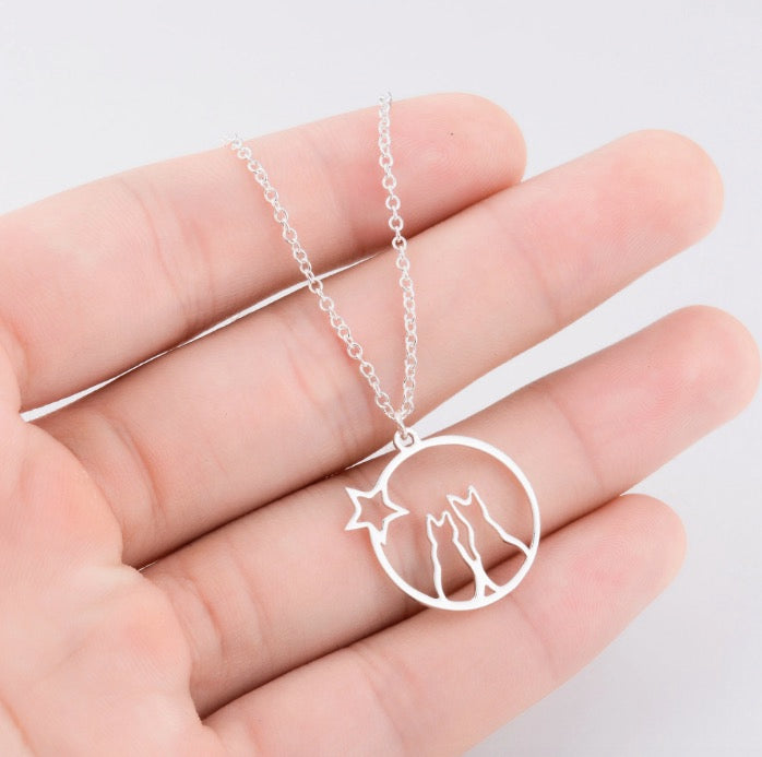 Collier pendentif chats