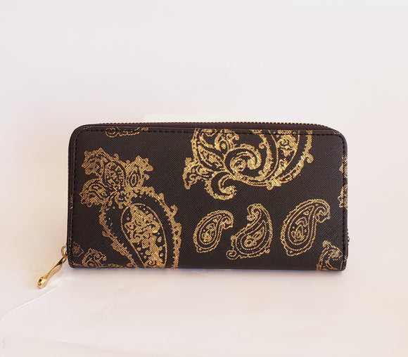 Black and Gold Paisley Wallet - Chicoras
