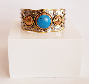 Silver and Gold Turquoise Cuff Bracelet - Chicoras