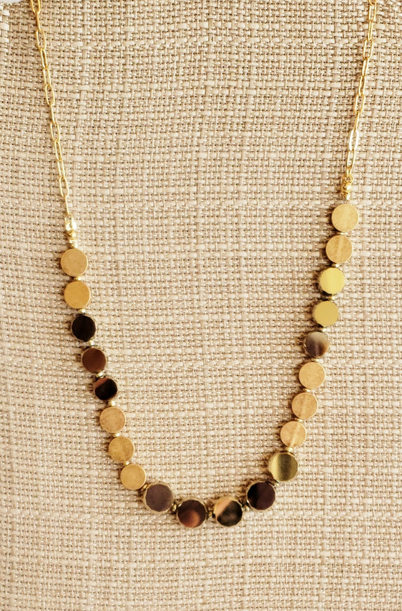 Gold Tone Round Bead Necklace - Chicoras
