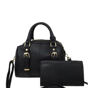 Small Black Satchel Handbag with Matching Wallet - Chicoras