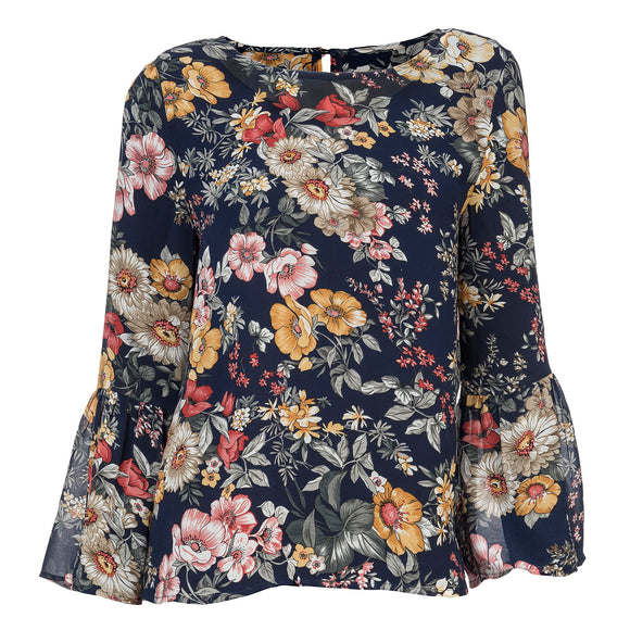 Navy Ruffle Sleeve Floral Top - Chicoras