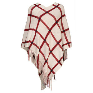 Cream and Cranberry Striped Knit Poncho - Chicoras