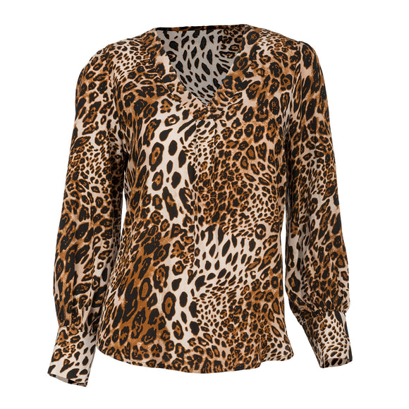 Animal Print Cheetah Print Blouse - Chicoras