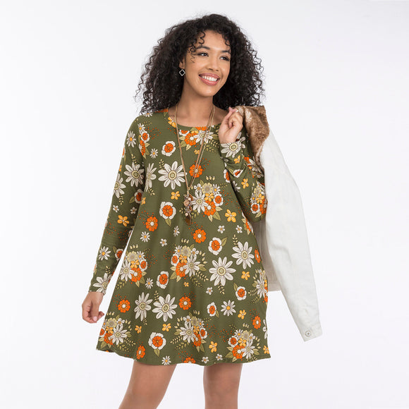 Vintage Olive Green Floral Tunic Dress - Chicoras