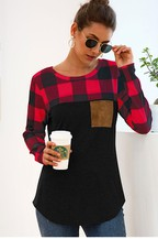 Buffalo Plaid Patch Pocket Long Sleeve Top - Chicoras