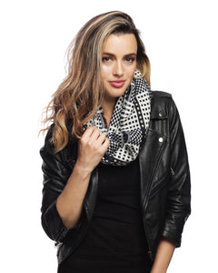 Ivory Black Plaid Infinity Scarf - Chicoras