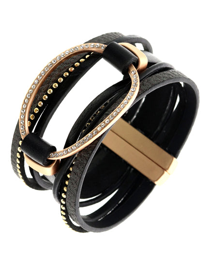 Black Matte Gold Leatherette semi Precious Multi Strand Bracelet - Chicoras