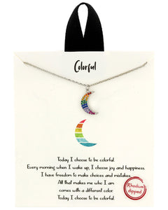 Positive Collection Colorful Moon Necklace - Chicoras