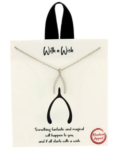 Positive Collection Silver Crystal Wish Bone Necklace - Chicoras