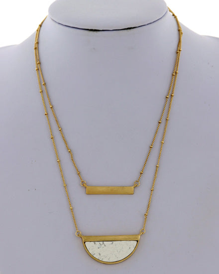 Gold Tone White Multi Strand Bar Necklace - Chicoras