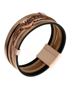 Animal Print Leather Multi Strand Magnetic Rose Gold Bracelet - Chicoras