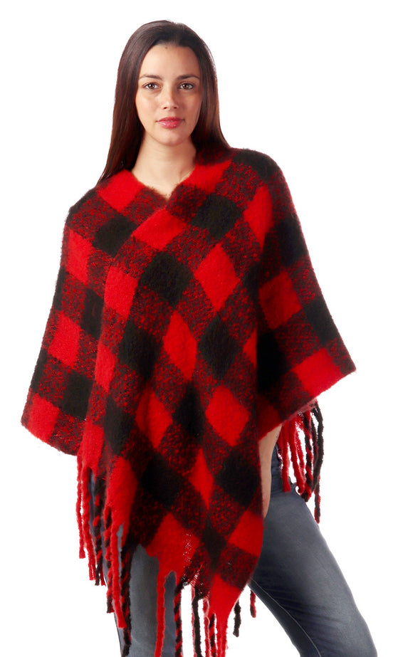 Red and Black Buffalo Plaid Poncho with Fringe - Chicoras