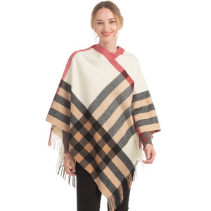 Soft Checkered Ivory Plaid Poncho with Fringe - Chicoras