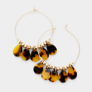 Gold Circle tortoise Teardop Earrings - Chicoras