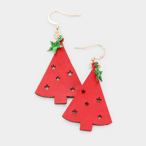 Red Faux Leather Cut out Star Christmas Tree Earrings - Chicoras