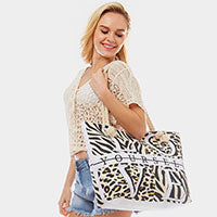 Love Yourself Animal Print Beach Tote Handbag - Chicoras