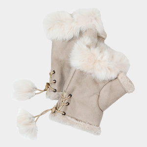 Ivory Fur Trim Fingerless Gloves - Chicoras