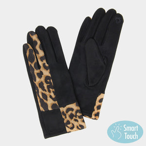 Leopard Print Black and Brown Smart Touch Gloves - Chicoras