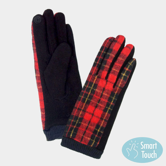 Red plaid Smart Touch Gloves - Chicoras