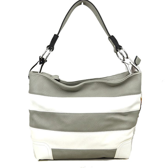 White and Grey Stripe Hobo Bag - Chicoras