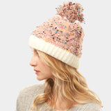 Multi color Sprinkles Pom Pom Beanie Hat - Chicoras