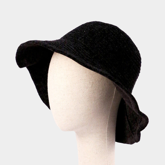 Black Knitted Bucket Hat - Chicoras