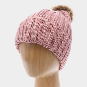 Soft Knit Pink Pom Pom Hat with Faux Fur - Chicoras