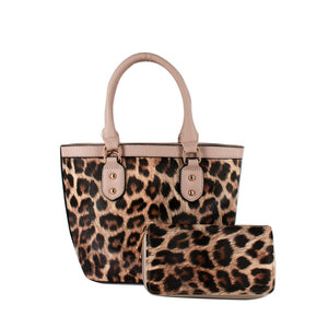 Small Tan Leopard Print Satchel Handbag with Matching Wallet - Chicoras