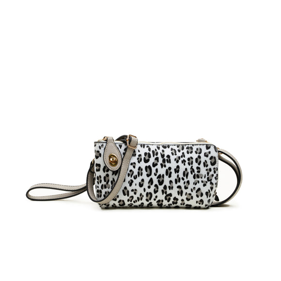 White Leopard Print Black and White Crossbody Handbag - Chicoras