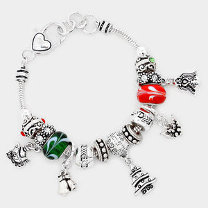 Silver Christmas Multi Bead Charm Bracelet - Chicoras