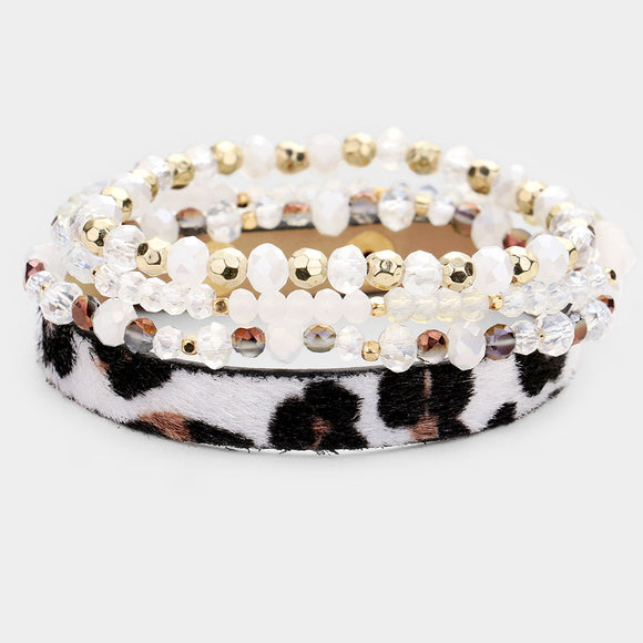 Leopard Faux Fur Crystal Bead Layered Stretch Bracelet - Chicoras