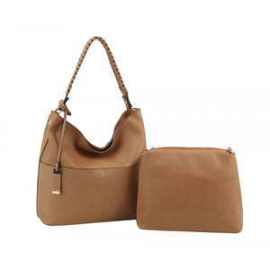 Tan Laser Cut 2 in 1 Shoulder Hobo Bag - Chicoras