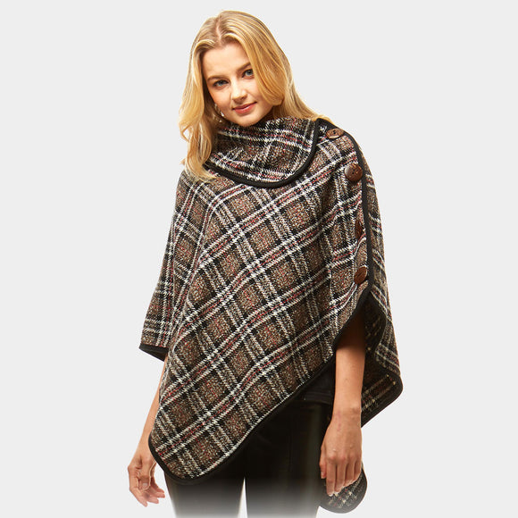 Brown Plaid High Neck Button Poncho - Chicoras