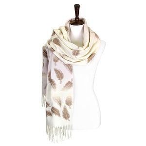 Leaf Pattern Ivory Oblong Scarf - Chicoras