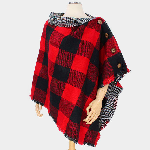 Red Black Buffalo Check Reversible Poncho - Chicoras