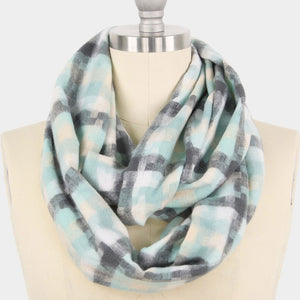 Soft Pastel Mint Plaid Infinity Scarf - Chicoras
