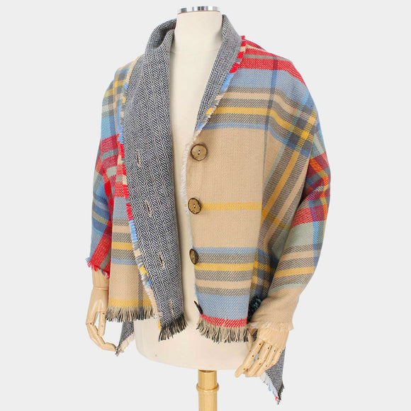 Reversible Plaid Check Button Poncho - Chicoras