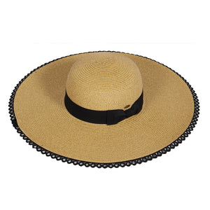 black Lace Trim Sun Hat - Chicoras