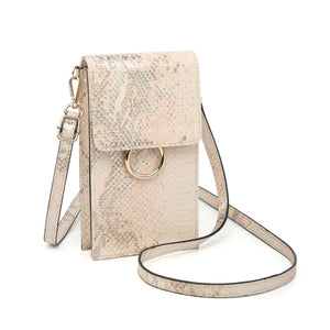Metallic Peach Snake Print Touch Screen Crossbody Handbag - Chicoras