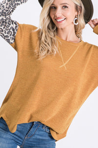 Solid Mustard Contrast Top with Leopard Sleeves - Chicoras