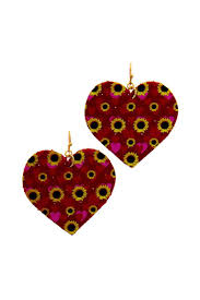 Red Heart Yellow Sunflower Heart Dangle Drop Leather Earrings - Chicoras