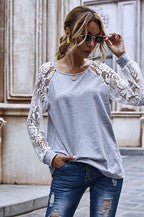 Light Grey Top with Long Lace Sleeves - Chicoras